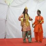 Characters enacting ah play shower Sahu ji ing Sri Krishna , Narad and others